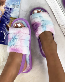 Bliss Cloud Pastel Tie Dye Fluffy Slippers in Purple
