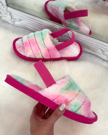 Bliss Cloud Pastel Tie Dye Fluffy Slippers in hot Pink