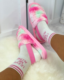 Bliss Cloud Pastel Tie Dye Fluffy Slippers in Pink