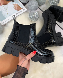 Logan Chelsea Ankle Boots in Black Croc Patent