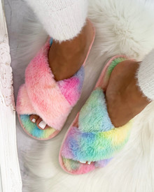 Leia Pastel Tie Dye Crossover Slippers in Multi