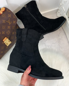 Thais Suedette Ankle Boots in Black