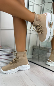 Elise Chunky Sock Trainers in Latte