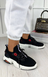 Calista Lace Up Sock Trainers in Black