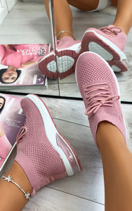 Kaia High Top Sock Trainers in Pink