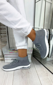 Kaia High Top Sock Trainers in Grey