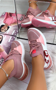 Camelia Sock Pull Up Trainers in Pink