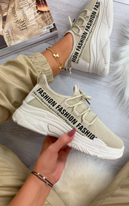 Kalena Fashion Trainers in Beige