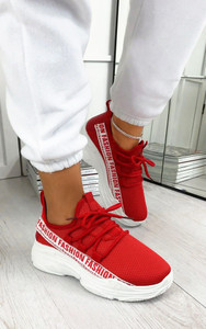 Kalena Fashion Trainers in Red