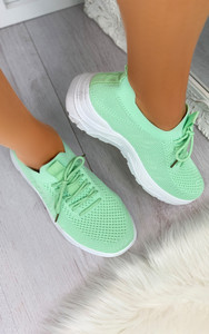 Maile Pull On Sock Trainers in Green