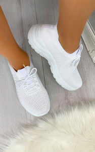 Maile Pull On Sock Trainers in White