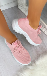 Maile Pull On Sock Trainers in Pink