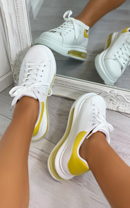Mai Transparent Sole Panel Trainers in Yellow
