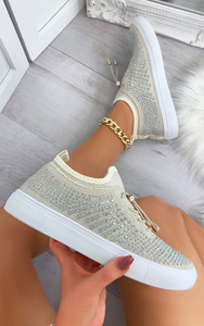 Nalini Flyknit All Over Diamante Trainers in Beige