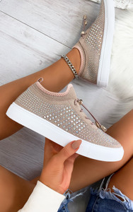Nalini Flyknit All Over Diamante Trainers in Dusty Blush