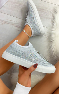 Nalini Flyknit All Over Diamante Trainers in White