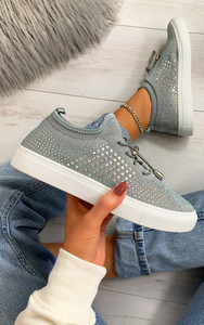 Nalini Flyknit All Over Diamante Trainers in Grey