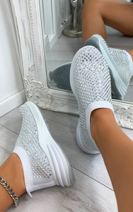 Randi Contrast Sole Embellished Trainers in White