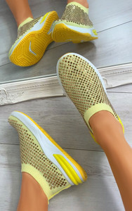 Randi Contrast Sole Embellished Trainers in Yellow