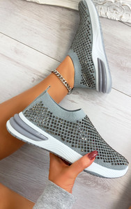 Randi Contrast Sole Embellished Trainers in Grey