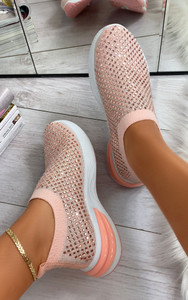 Randi Contrast Sole Embellished Trainers in Pink