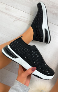 Randi Contrast Sole Embellished Trainers in Black