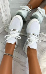 Roselle Lace Up Side Embellished Trainers in White