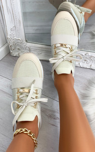 Roselle Lace Up Side Embellished Trainers in Beige
