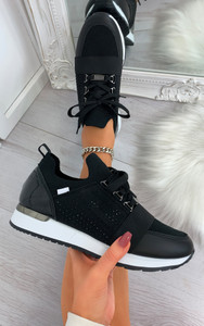 Roselle Lace Up Side Embellished Trainers in Black