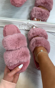 Dielle Double Strap Fluffy Slippers in French Rose