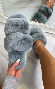 Dielle Double Strap Fluffy Slippers in Grey