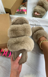 Dielle Double Strap Fluffy Slippers in Mink