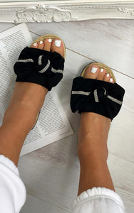 Ella Bow sliders in Black