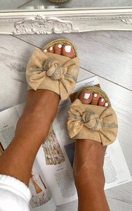Ella Bow sliders in Beige