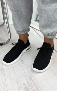 Elaina Knitted Trainers in Black