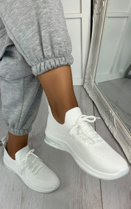 Elaina Knitted Trainers in White