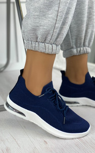 Elaina Knitted Trainers in Navy