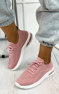 Elaina Knitted Trainers in Pink