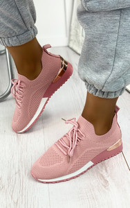 Galia Knitted Trainers in Pink