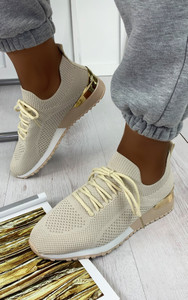 Galia Knitted Trainers in Beige