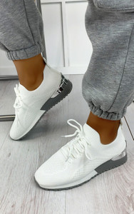Galia Knitted Trainers in White