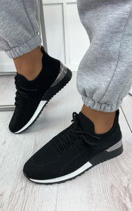 Galia Knitted Trainers in Black