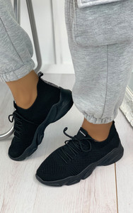 Polina Knitted Trainers in Black