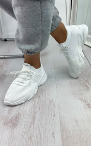 Polina Knitted Trainers in White