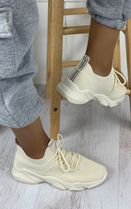 Polina Knitted Trainers in Beige