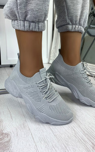 Polina Knitted Trainers in Grey