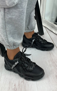 Tamika Chunky Panelled Trainers in Black