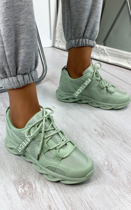 Tamika Chunky Panelled Trainers in Green