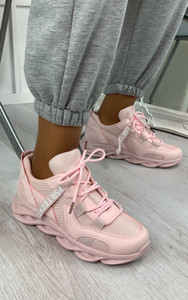 Tamika Chunky Panelled Trainers in Pink