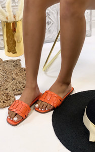 Cinnia Flat Sandals in Orange